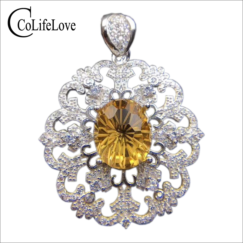 Baroque silver citrine pendant for party 10 mm * 12 mm 5 ct natural citrine necklace pendant solid 925 silver citrine jewelry