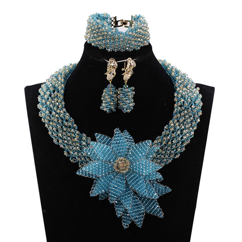Trendy African Beads Necklace New Sky Blue Gold Flower Pendant Wedding Necklace Set Costume Jewelry Set for Women Gift ABH614 trendy letter beads layered necklace for women
