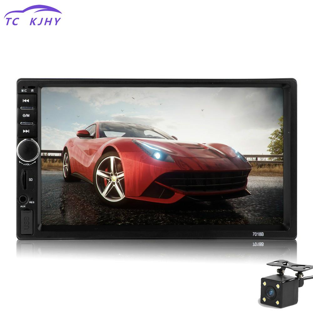 2018 Car Audio 7 Inch 2 Din Autoradio Stereo Touch Screen Auto Radio Video Car Mp5 Player Support Bluetooth Tf Usb Fm Camera 7 inch hd 2 din bluetooth car mp5 player stereo audio fm radio touch screen support aux usb tf phone auto rearview camera