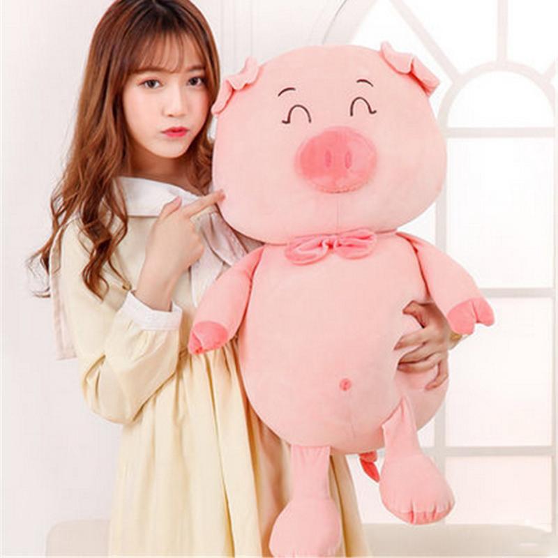 Fancytrader gros cochon rose doux jouets en peluche animaux en peluche géants poupée oreiller cochon 28 pouces beaux cadeaux pour noël saint-valentin