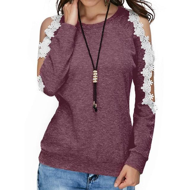 e985eaa46 Bohemian style ladies autumn blouses Women Off Shoulder Lace Top Long  Sleeve Blouse Ladies Casual Tops