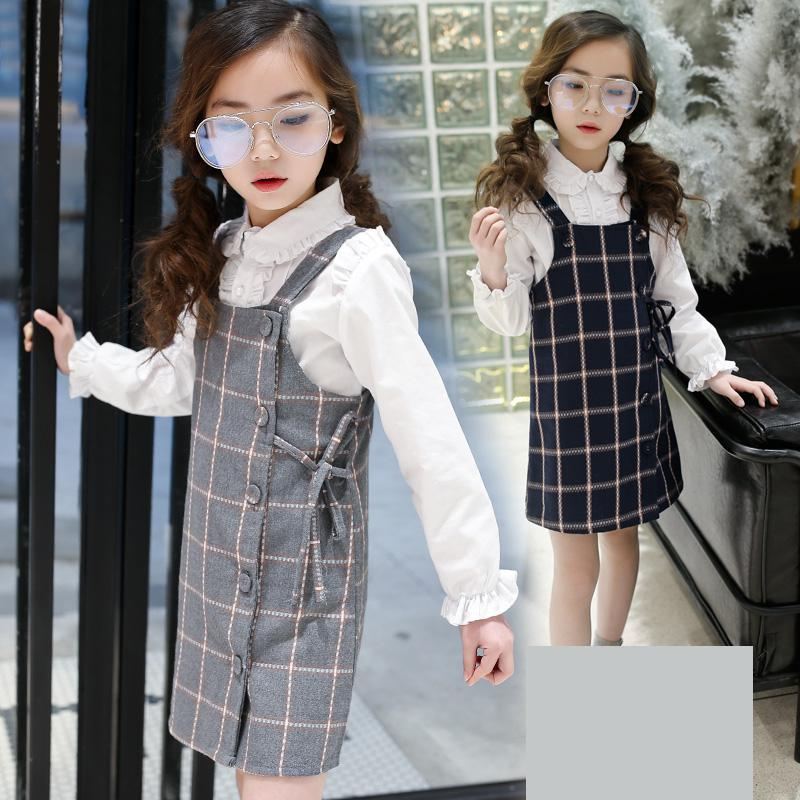 2018 Kids Girls Clothing Set Long Sleeve White Shirts + Plaid Dress Cotton Teen Girls Suits Sets Fashion Children Girls Clothes fashion slim girls clothing sets long sleeve plaid sweater two piece skirt suits cotton kids wear vetement fille split hem