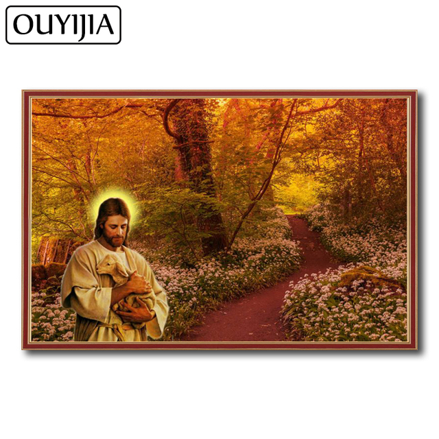 OUYIJIA Atr Oil God Lamb 5D DIY Diamond Painting Flower Forest Embroidery  Mosaic Diamond Rhinestone Maple Woods Decoration 92b33bf00e48