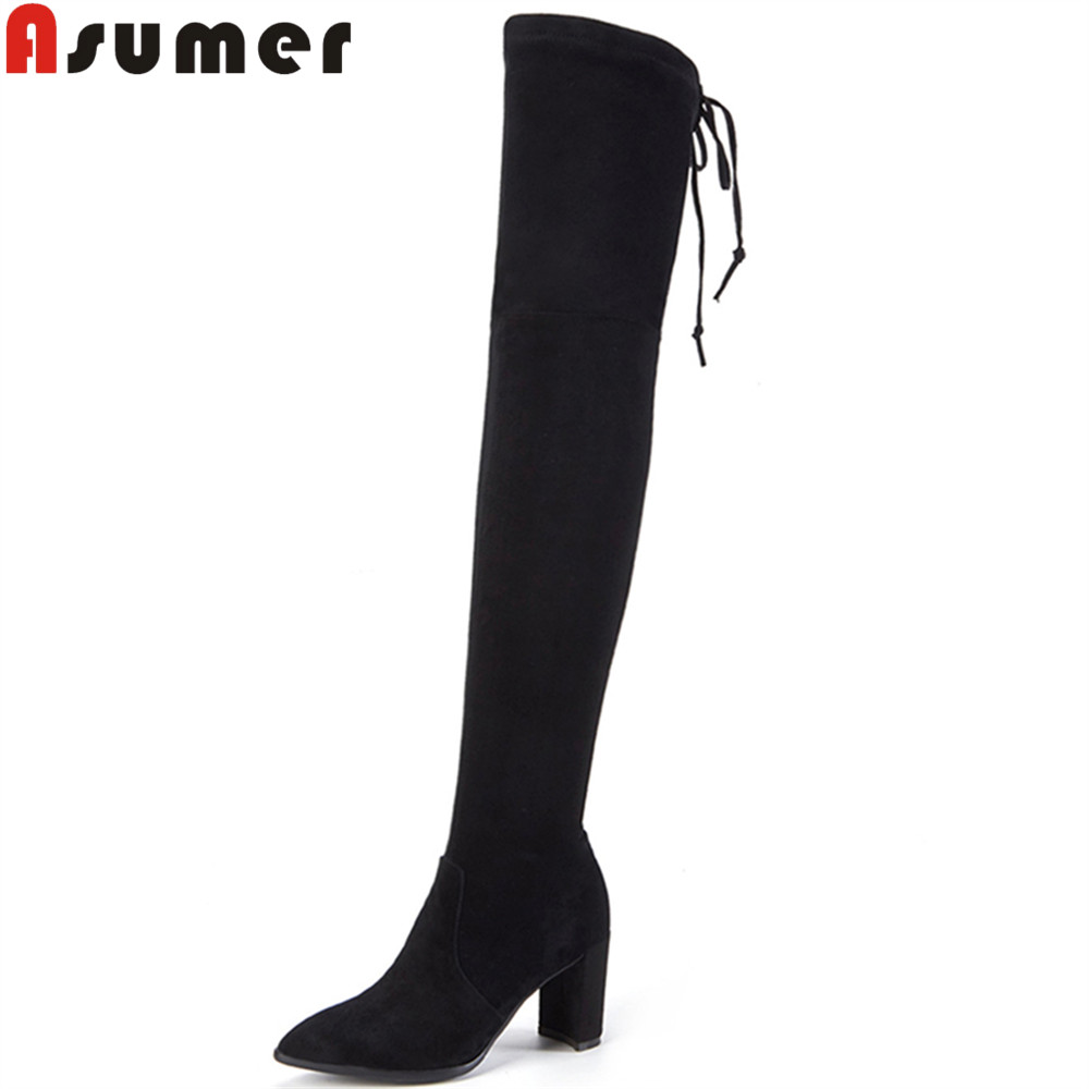 ASUMER 2018 hot sale new arrive women boots zipper kid suede boots pointed toe cross tied black wine red over the knee boots morazora autumn winter new arrive women boots pointed toe zipper flock ladies boots square heel cross tied over the knee boots