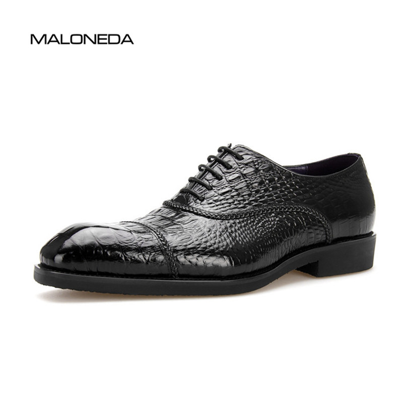 MALONEDA Fashion Crocodile Pattern Calf Leather Mens Oxfords Formal Dress Shoes For Wedding Party MALONEDA Fashion Crocodile Pattern Calf Leather Mens Oxfords Formal Dress Shoes For Wedding Party
