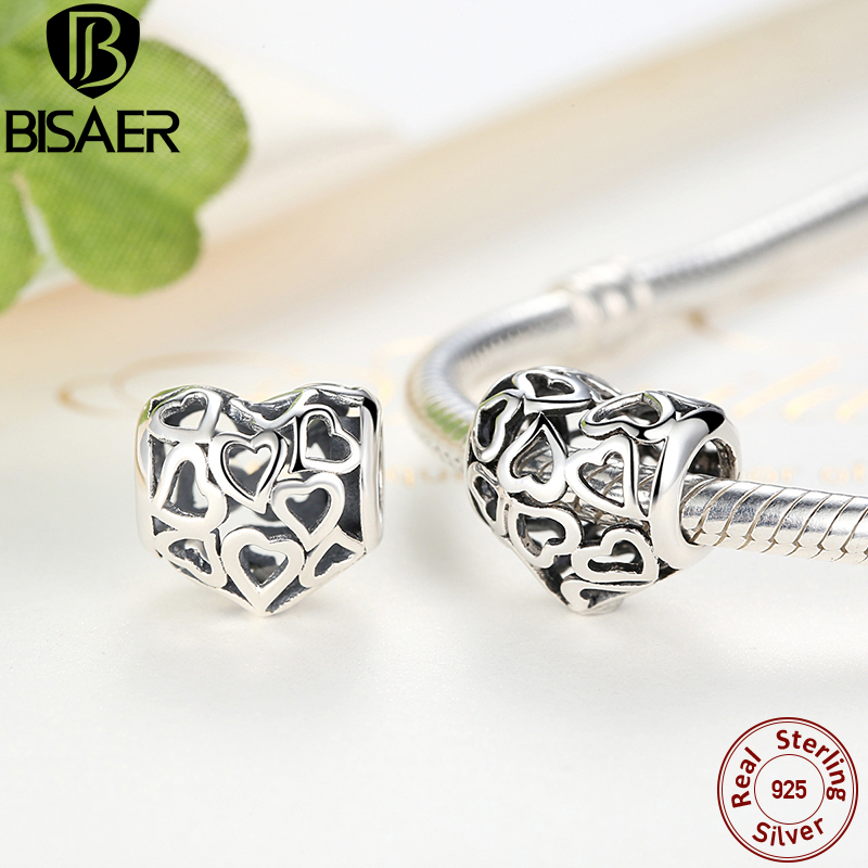 925 Sterling Silver Heart Beads fit Original BISAER Charms Bracelets Necklace Women Engagement Accessories ECC024 цена 2017