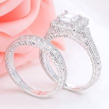 Exquisite 2 Pcs/lot Silver Halo Rings Set Princess White CZ Jewelry Promise Gift Engagement Wedding Band Ring for Women(China)