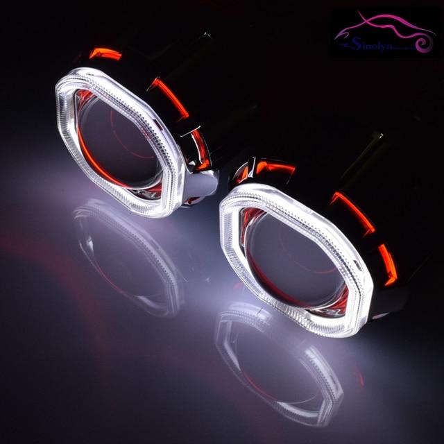 Motorcycle Headlight Double Square Angel Eyes Halo Hid Bi Xenon Lens