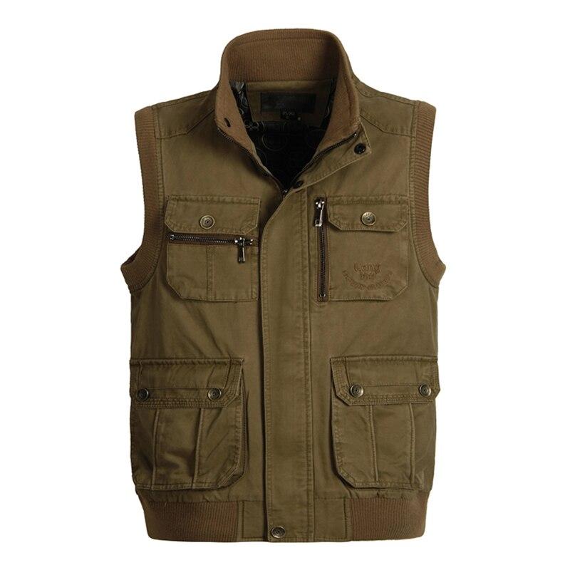 Spring Autumn Men Big Size XL-6XL Cotton Vest Multi Pockets Army Green Khaki Waistcoat Male Photography Sleeveless Collar Jacket