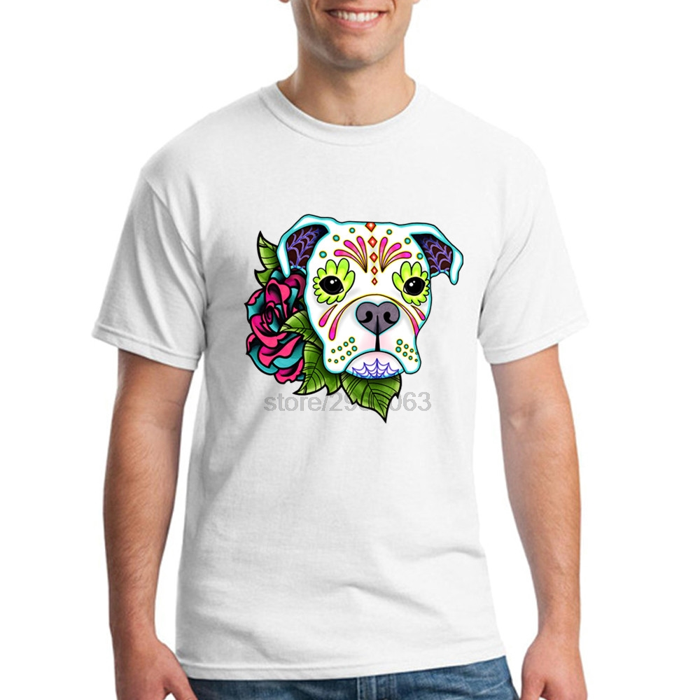 Design your own t-shirt for dogs - Men Short Sleeve T Shirts Pre Cotton T Shirt Plus Size Boxer In White Day Of The Dead Sugar Skull Dog Male T Shirt 3d