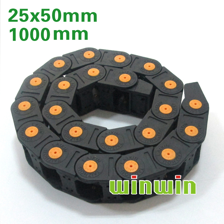 Semi closed 25x50mm Cable drag chain wire carrier with end connectors plastic towline for CNC Router Machine Tools 1000mm 1m total closed type 25 x 38mm cable drag chain wire carrier with end connectors plastic towline for cnc router machine tools