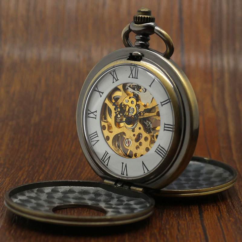 bronze semi automatic skeleton mechanical chain mens vintage bronze semi automatic skeleton mechanical chain mens vintage pocket watch set p822wbwb in pocket fob watches from watches on aliexpress com alibaba