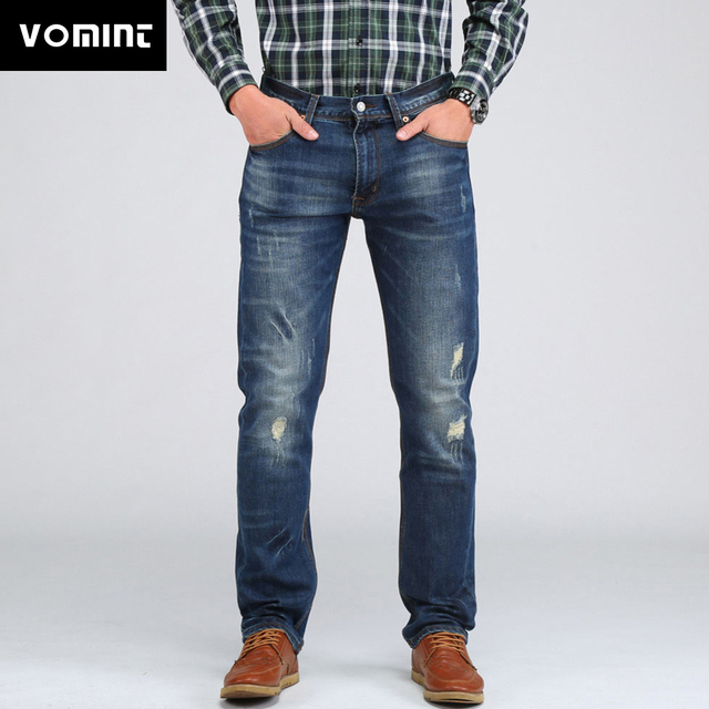 7382ced1f1d43 VOMINT 2019 Men Casual Elasticity Jeans Slim Regular Fit Nice Cutting  Perfect Details Plus Size Distressed