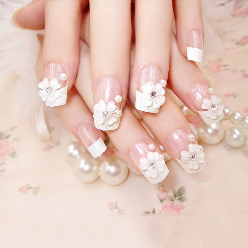 ELECOOL 24Pcs/1Set 3D Bride Lady False Nail Tips Full Size French elegant Pearl Flower Style Fake Nails with Medium-long Glue