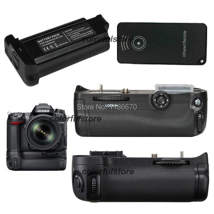 Battery Hand Handle Grip Pack Vertical Power Shutter For Nikon D7000 DSLR Camera as MB-D11+ IR Remote + 1 x EN-EL15a Big Battery new arrival battery handle hand grip pack holder vertical power shutter for nikon d750 camera as mb d16 2 x en el15 car charger