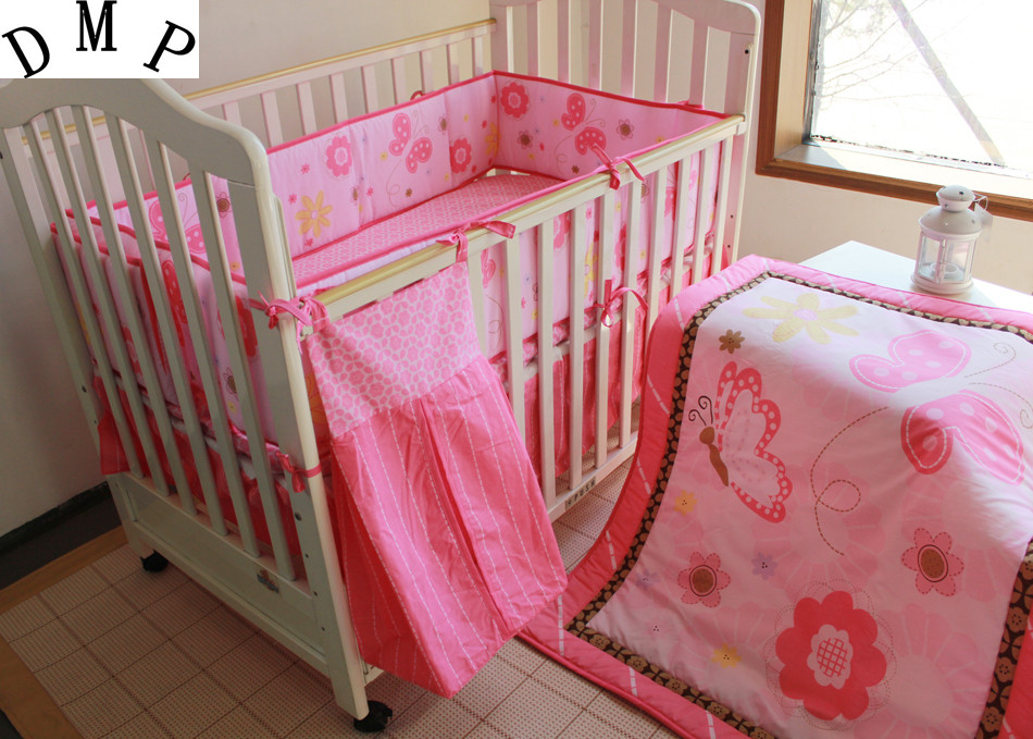 Promotion! 5pcs embroidered Baby Cot Crib Bedding set for boys bed kit set,include(bumper+duvet+bed cover+bed skirt+diaper bag)