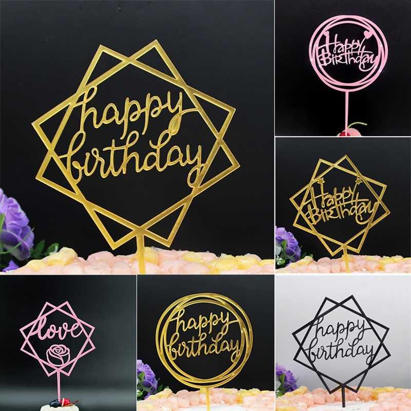 IVYSHION акриловое Письмо Сердце с днем рождения торт Топпер для дня рождения Свадебная вечеринка торт украшения инструменты украшение для вечерние