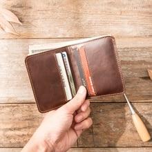 Мужской кошелек ручной работы из натуральной кожи, тонкий, мягкий, с 6 отделениями для кредитных карт, TH02