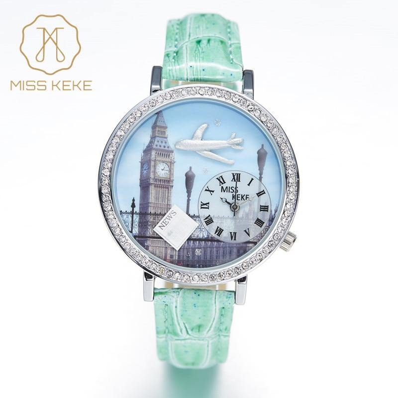 Miss Keke New 3d Clay Cute Mini World Big Ben Rhinestone Watches Blue London Ladies Women Quartz Leather Wristwatches 1046