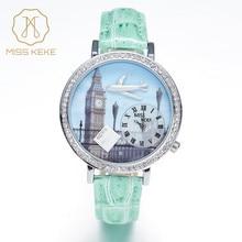 Miss Keke Nouveau 3d Argile Mignon Mini Monde Big Ben Strass Montres Bleu Londres Dames Femmes Quartz En Cuir Montres 1046