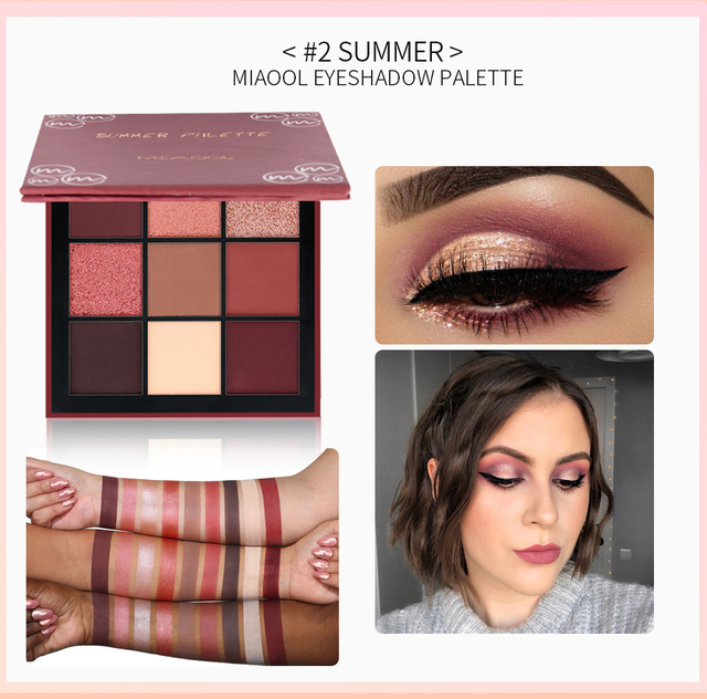 Miaool 9 colores brillo paleta de sombra de ojos pigmento sombra de ojos paleta de colores Hudas cosméticos de belleza maquillaje