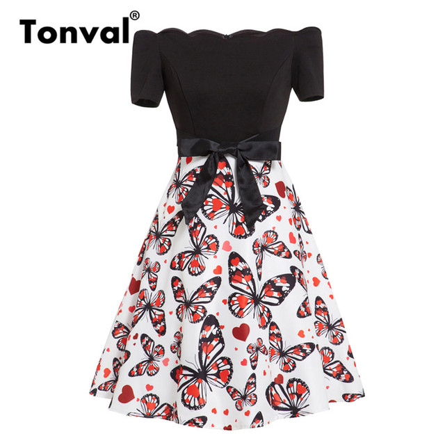 9c13e5c765e15 Tonval Vintage Scalloped Trim A Line Butterfly Print Summer Dress Women Off  Shoulder Bow Tie Front Fit and Flare Skater Dresses