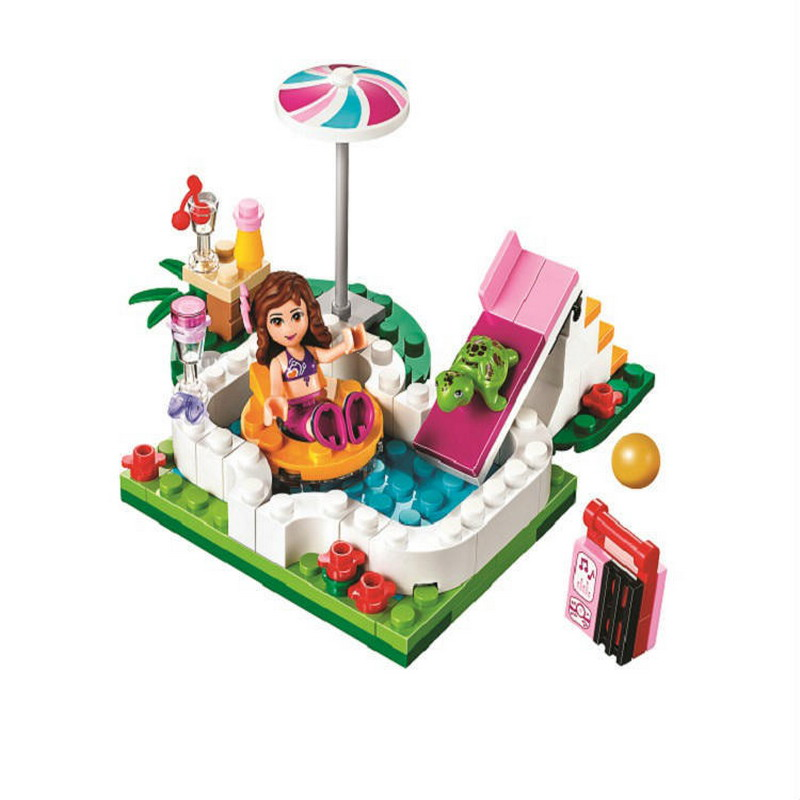 BELA 10542 Girl Friends Olivias Garden Pool Figure Blocks Educational Construction Building Toys For Children Compatible Legoe