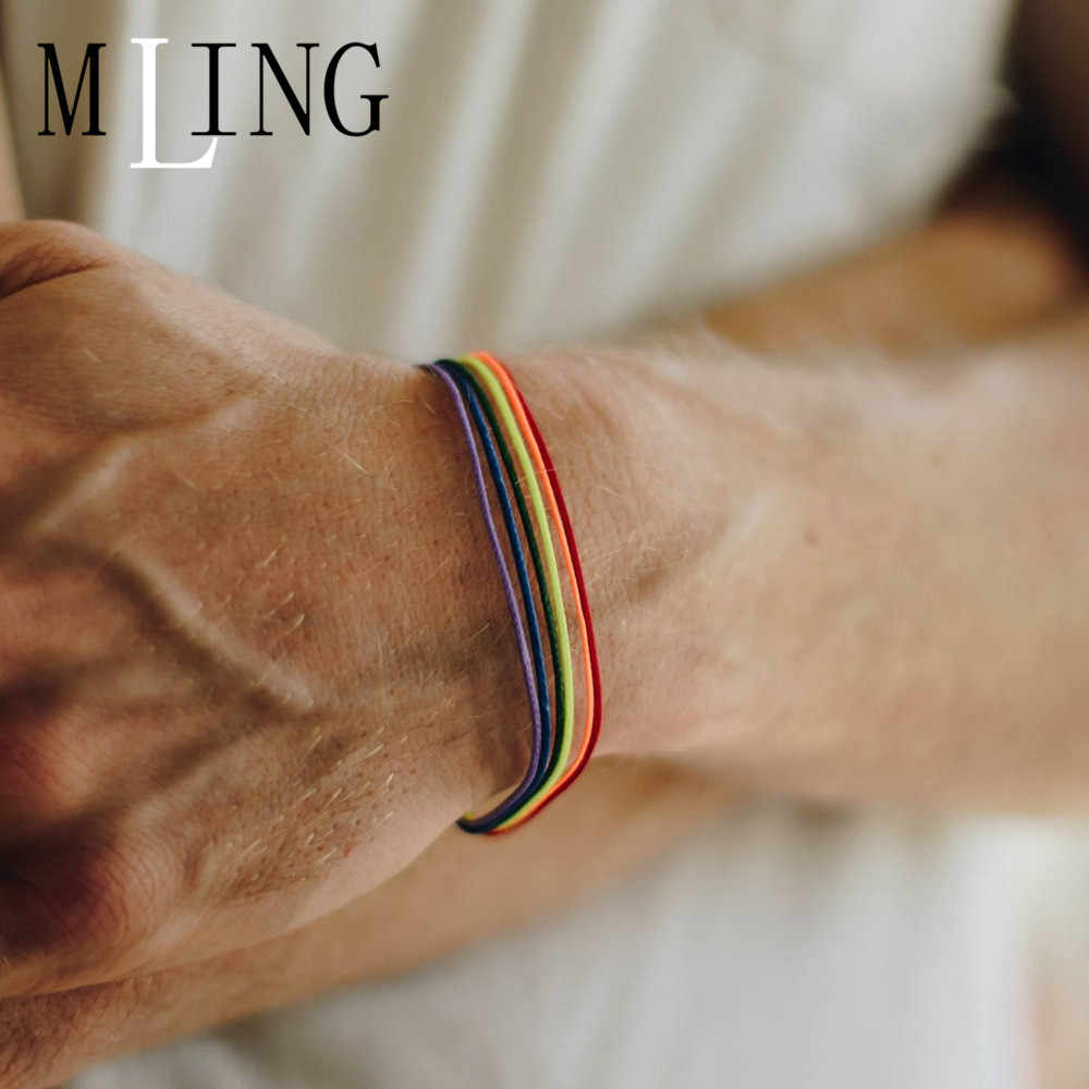 MLING Simple Rainbow Bracelet Seven Colors Bracelet For Women And Man Fashion Jewelry Gift