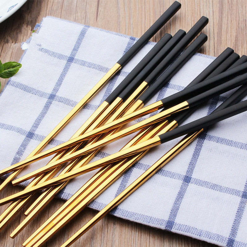 23.5cm Black Gold Plated Chopsticks 304 Mirror Polished Stainless Steel Chopsticks Tableware Christmas Gifts Chinese Chopsticks