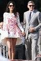Amal Alamuddin colher curto mini assimétrico vestidos de celebridades com mangas compridas lace multicolorido apliques Prom vestido de noite