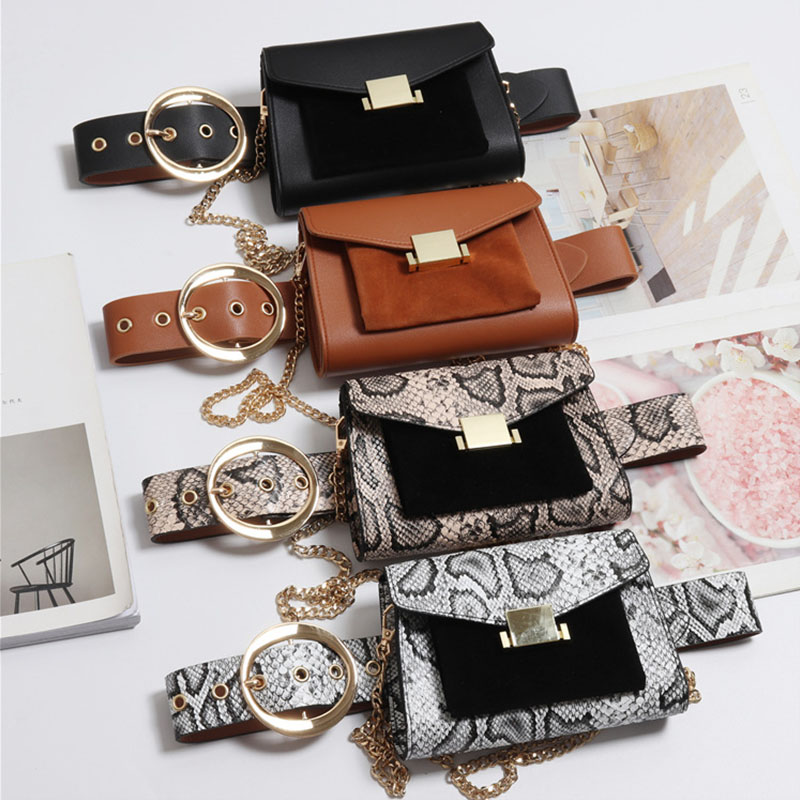 Fashion Waist Bag Waist Pack Women's Belt Bags High Quality Hip Package Fanny Packs Snake Pattern Banana Bag Cell Phone Pocket