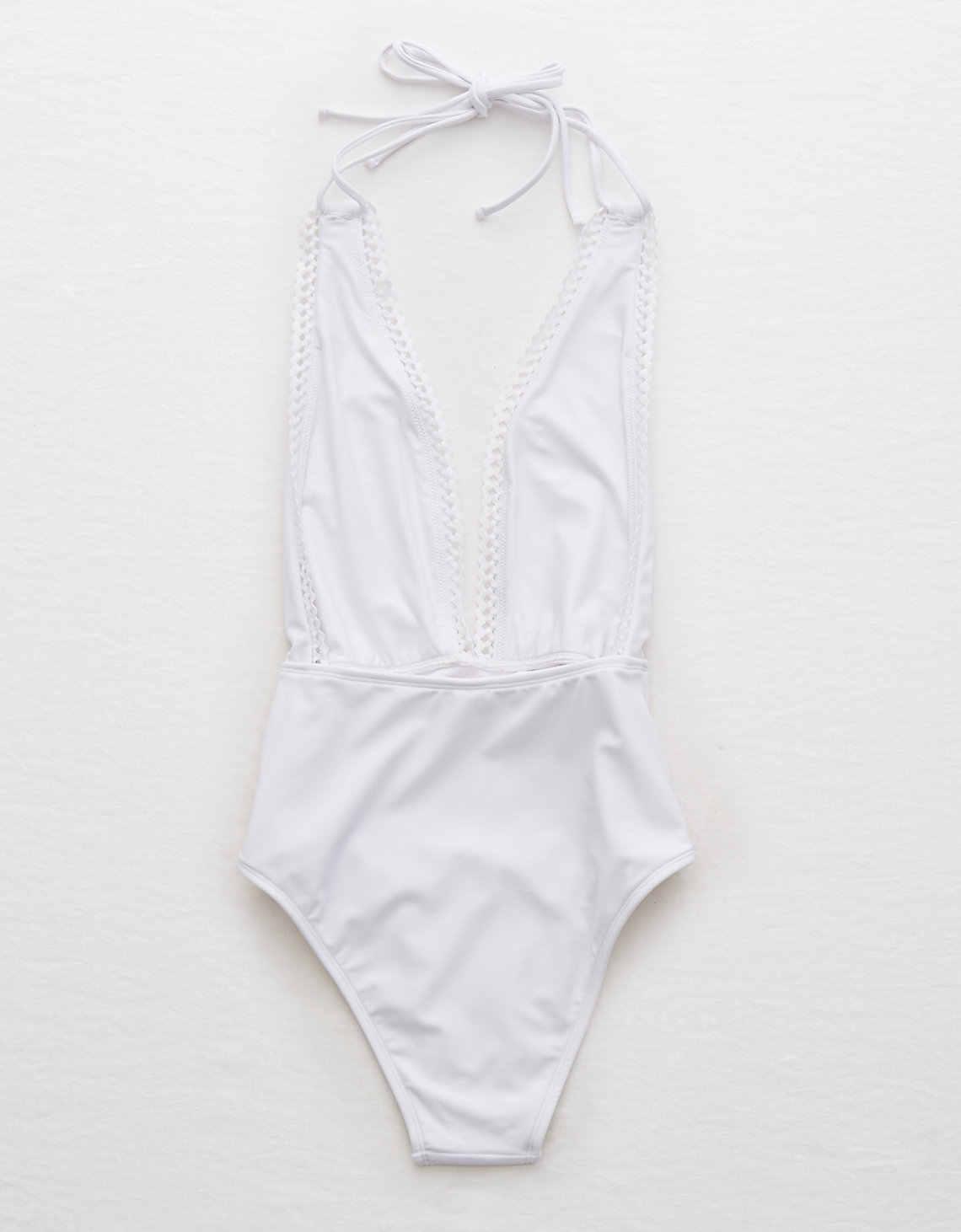 32f67eac46b6 Traje de baño de una pieza de corte de pierna alta de encaje para mujer  cuello en V profundo sin espalda Monokini 2019 playa chica Sexy trajes de  ...
