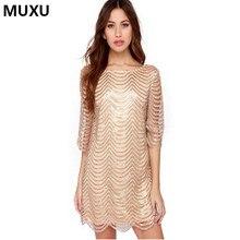 MUXU Sexy autumn gold sequin dress patchwork women vestidos mujer glitter  dress womens clothing fashionable dresses elbise 2017 297c5ca4b765