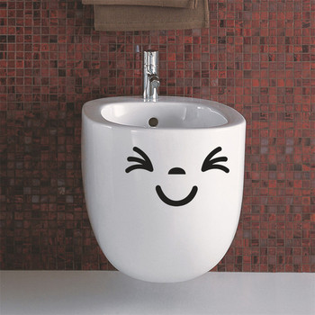 Furniture Decoration Wall Decals Personalized Diy Smile Face Toilet Stickers Fridge Washing Machine Sticker Bathroom Car Gift image