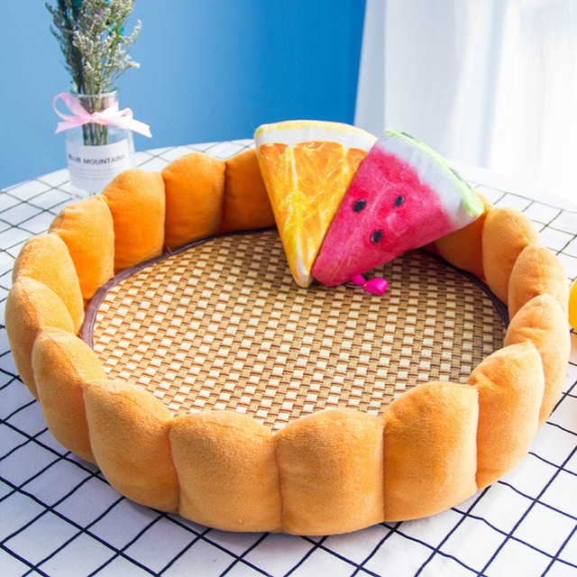 Egg tart Pet Nest  Pet Bed Cat Nest Cute Warm Dog and Cat Bed Soft Four Seasons General Rattan Chair in Summer and Cool Nest