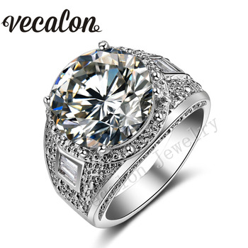 Vecalon Big Round cut 15ct AAAAA Zircon Cz Engagement Wedding Band ring for Women White Gold Filled Female Party ring