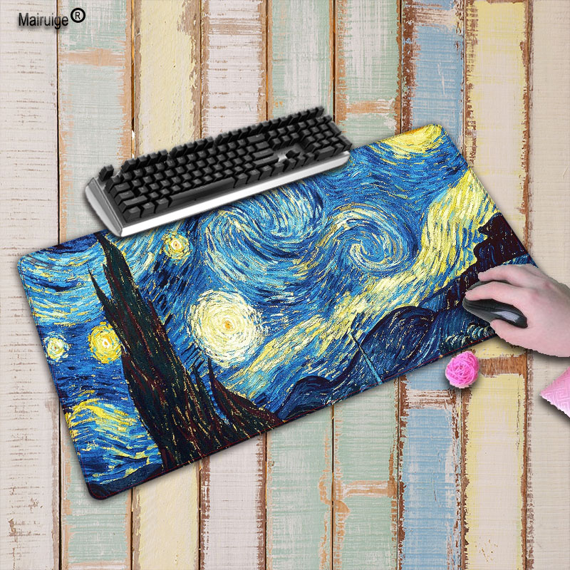 8355a205d0b Mairuige Oil Painting Mouse Pad 900 X 400 mm Rubber Gaming Lock Edge  Mousepad Keyboard Computer Mouse Mat For cs go Dota Gamers