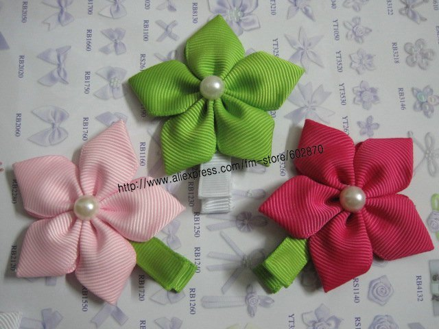 """Wholesale Free Shipping  150pcs/lots 2.3"""" Girl's Petal Flower Hair Bow with pearl Centre mix 15 color kid's Hair Clips"""