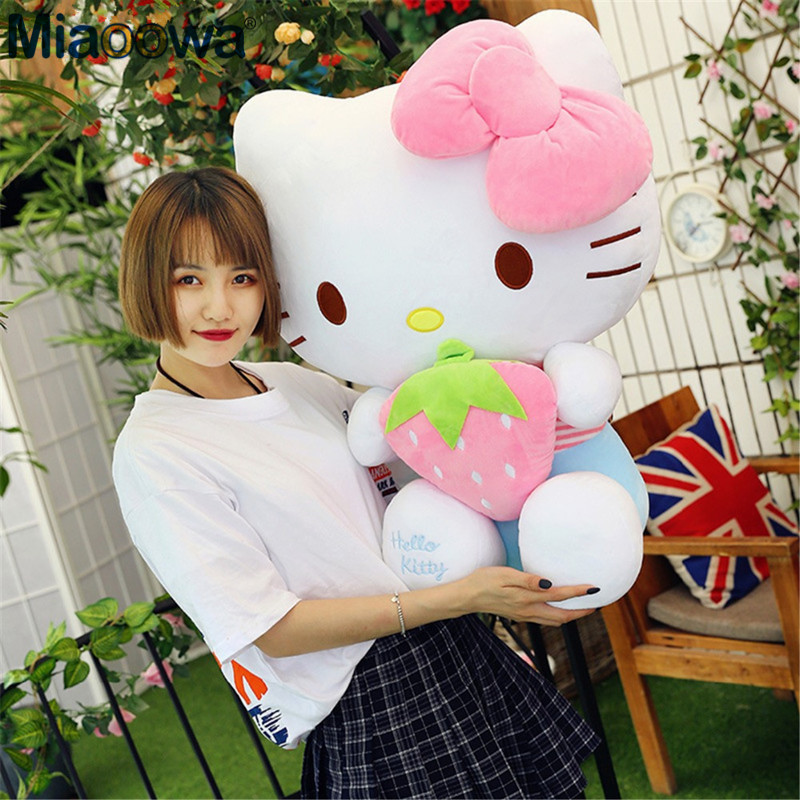 1pc 50/65cm Giant Kawaii Strawberry Hello Kitty Stuffed Plush Doll Baby Cute Soft KT Cats Animal Pillow Toys For Girls стоимость