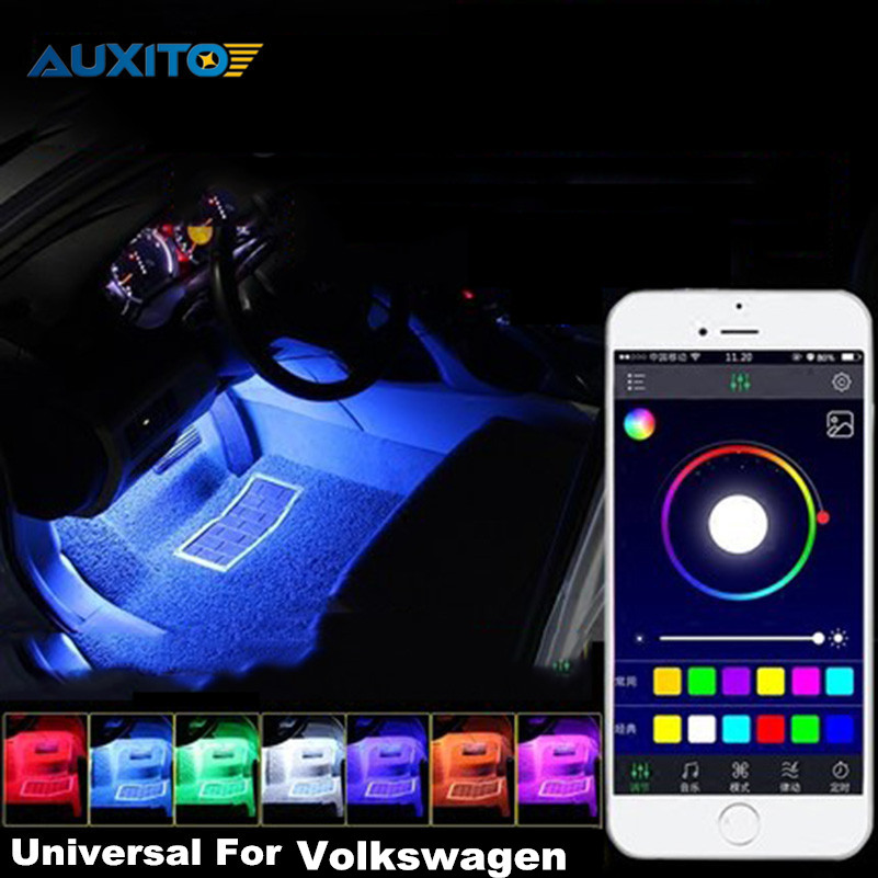 For VW Volkswagen Polo Beetle Golf 4 5 7 6 Passat B5 B6 APP Control Car Interior Atmosphere Decoration Lamp RGB LED Strip Light car seat cushion three piece for volkswagen passat b5 b6 b7 polo 4 5 6 7 golf tiguan jetta touareg beetle gran auto accessories