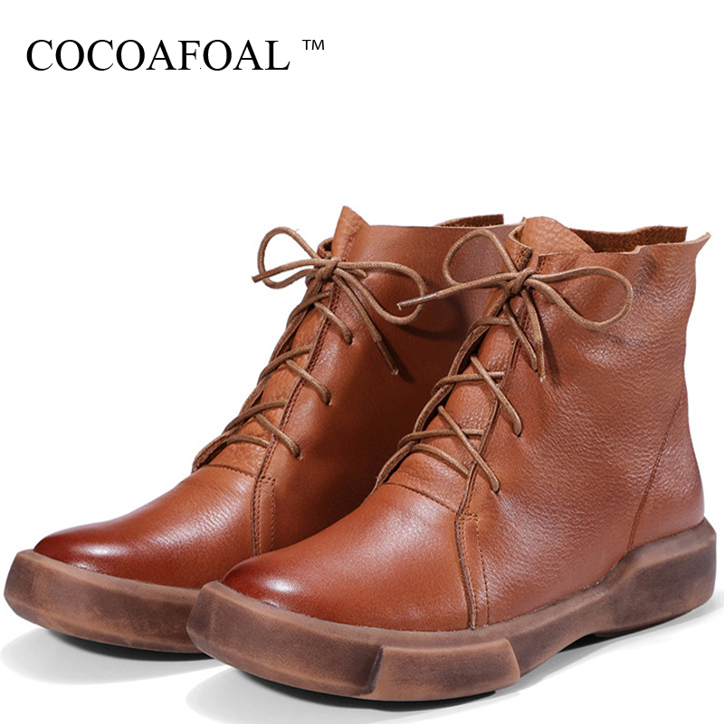 купить COCOAFOAL Women's Genuine Leather Martin Boots Platform Shoes Woman Autumn Winter Ankle Boots Genuine Leather Chelsea Boots 2018 недорого