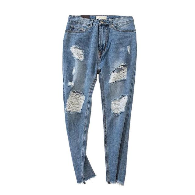 4ee18f2448f Women Petite Extreme Ripped Jeans Fashion Distressed Design Non-stretch  denim Ankle Length Pants Sexy Ripped Hip Jeans