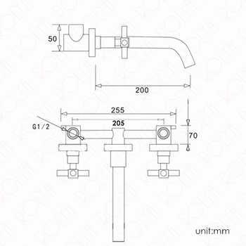 ROLYA Double Cross Handles Golden Bathroom Faucet In Wall Mounted Basin Mixer Tap Set