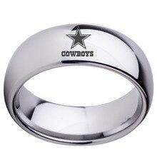 NFL Dallas Cowboys Футбол Обручальное кольцо 8 мм Черный/Серебряный Купол Tunsgten Спорт Кольцо Comfort Fit Размер 6 до 14