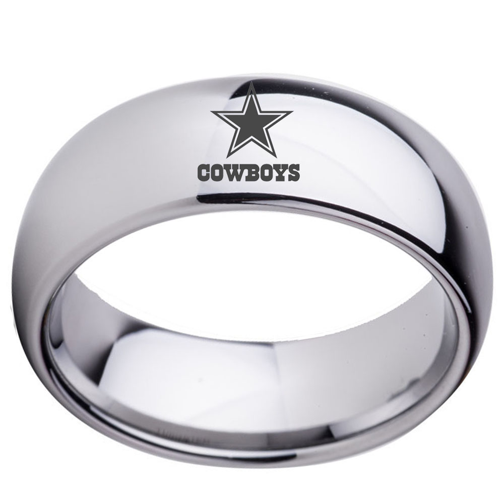 Nfl Dallas Cowboys Football Wedding Band 8mm Black Silver Dome Tunsgten Sport Ring Comfort Fit