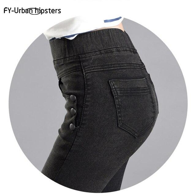 21ebcc68d303 Стрейч джинсы женские большие размеры feminina с пуговицами сзади карман  Джинсы ...