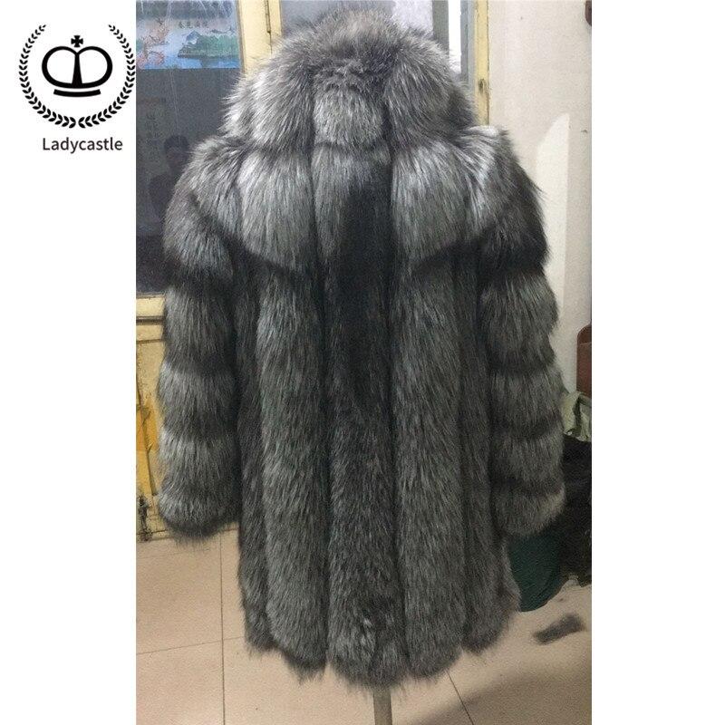 Manteau Femmes Hood Mode With O Fox De Réel 058 Chaud Manteaux cou Outwear D'hiver Fc Naturel Veste dark Fourrure Pour Grey Femelle Renard Épais HED9eWI2Y