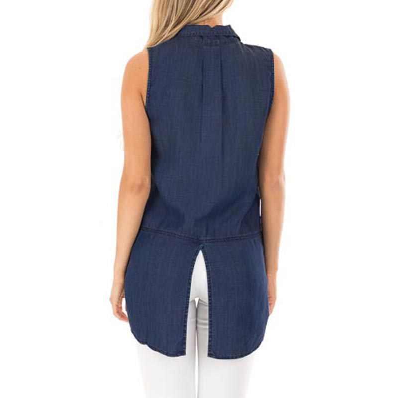 Schmicker 2019 mulheres elegante lapela sem mangas trabalho escritório blusa verão tanque topo solto denim azul irregular dividir colete camisas