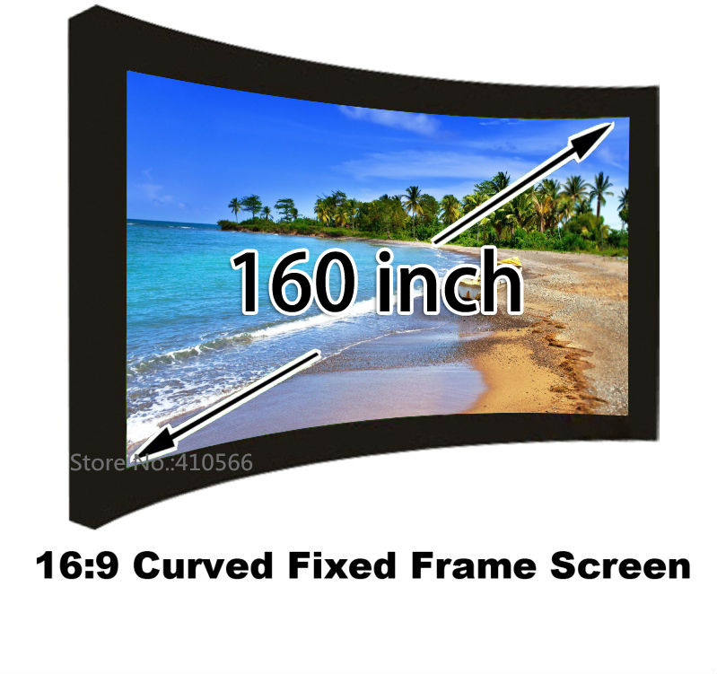 Home Cinema Projector Projection Screen 160 Diagonal 16:9 Widescreen DIY Curved Frame Screens For 4K Beamer low price 92 inch flat fixed projector screen diy 4 black velevt frames 16 9 format projection for cinema theater office room