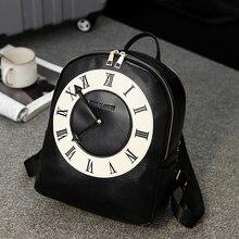 Корейский характер часы сумка студент мешок черный и белый мозаика смешно компьютер пакет PU кожаная сумка печати Campus